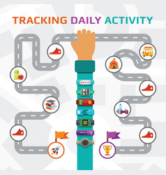 Fitness tracking and walking route concept in vector