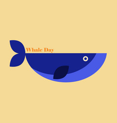Flat icon on theme save whales whale day vector
