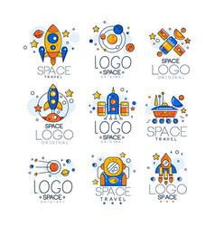 Flat set of linear space logo with colorful vector