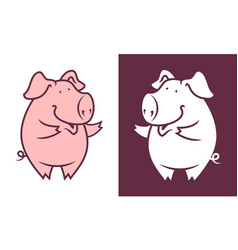 Friendly pig character vector