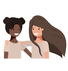 Friendly teenagers ethnicity girls characters vector