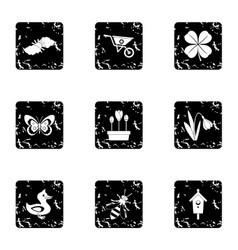 Garden icons set grunge style vector