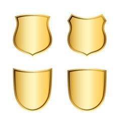 Gold shield shape icons set 3d golden emblem vector