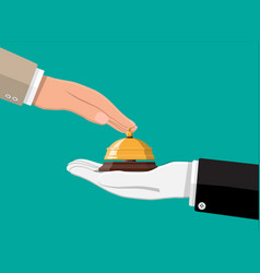 golden service bell in hand vector image
