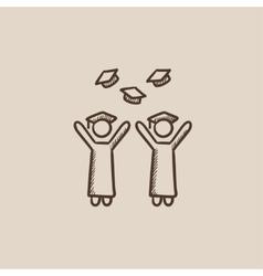 Graduates throwing caps sketch icon vector