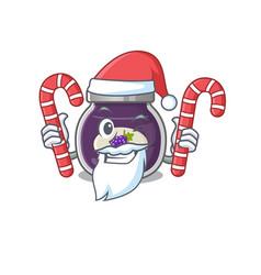 Grape jam cartoon character in santa costume vector
