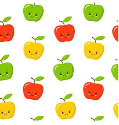green red yellow cute apple seamless endless vector image
