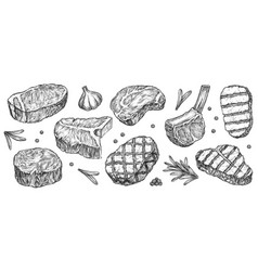 hand drawn steak set isolated on white background vector image