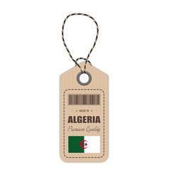 Hang tag made in algeria with flag icon isolated vector