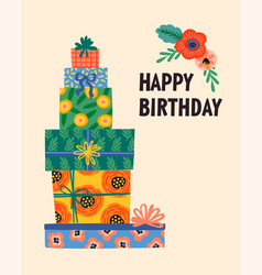 happy birthday cute gift vector image