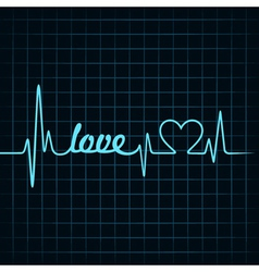 heartbeat make a love text and heart symbol vector image