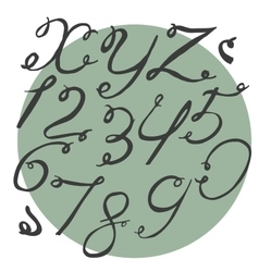 Ink alphabet X to Z with numbers freehand funky vector