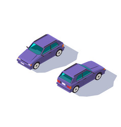 isometric 3d four-seater red classic hatchback car vector image