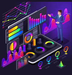 isometric business men businessmen point to vector image