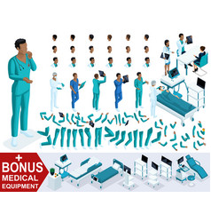 isometric doctor african american create paramedic vector image