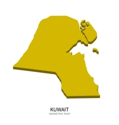 Isometric map of Kuwait detailed vector