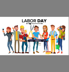 labor day modern workers set a group of vector image