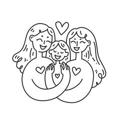 lesbian family concept lgbt woman couple vector image