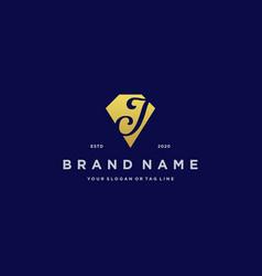 Letter j diamond gold logo design vector