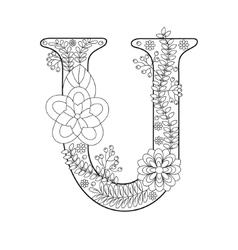 Letter U coloring book for adults vector image