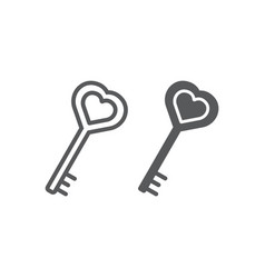 Love key line and glyph icon love and lock heart vector