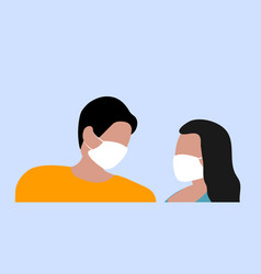 man and woman in medical masks protect themselves vector image