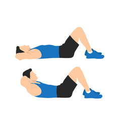 Man doing crunches in gym vector