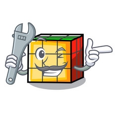 Mechanic rubik cube mascot cartoon vector