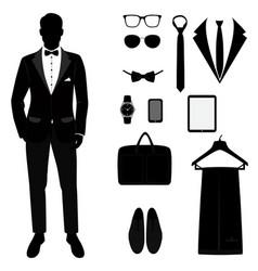 Mens tuxedo mens accessories wedding mens set vector