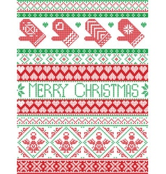 Merry christmas pattern with mittens vector