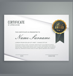 Modern minimal style certificate of appreciation vector