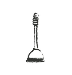 monochrome blurred silhouette of toilet plunger vector image