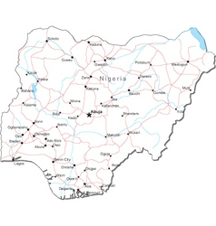 Nigeria Black White Map vector image