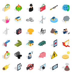 No war icons set isometric style vector