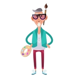 Old artist man in cartoon style vector image