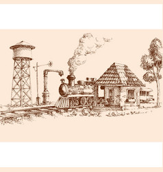 old train station railway steam train hand drawing vector image