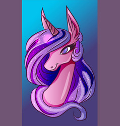 pink and blue magic fantasy unicorn horse vector image