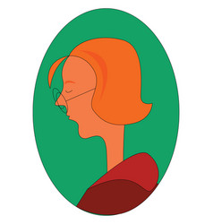 profile a ginger woman with round glasses vector image