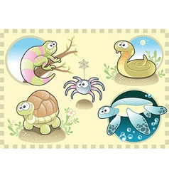 Reptiles and Spider Family with background vector image