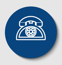 retro telephone sign white contour icon vector image
