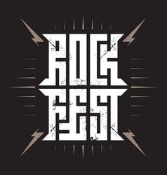 Rock festival poster with lightnings rock fest vector