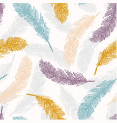 Sacred bird feathers tumbling hand drawn seamless vector