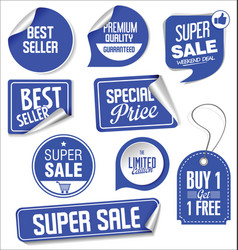 Sale stickers and tags blue design vector