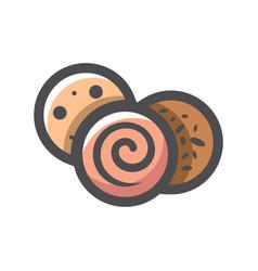 sausage slice salami icon cartoon vector image