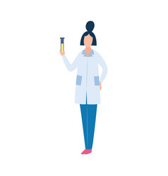 Scientist holding liquid in vial vector