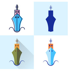 sea ship icon set in flat and line styles vector image