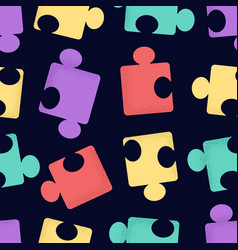 seamless pattern cartoon puzzle pieces with vector image