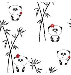 Seamless pattern funny panda vector