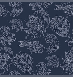 seamless pattern in marine themes with wild sea vector image