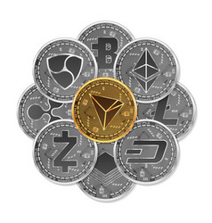set gold and silver crypto currencies vector image